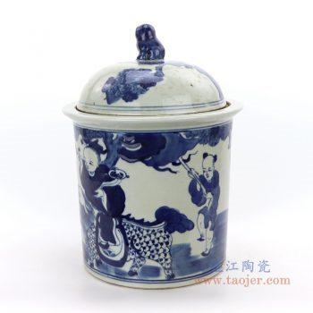 RZGC03-B 景德镇陶瓷 手绘手工童子骑龙青花茶叶罐
