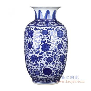 RZGM07-B 景德镇陶瓷 青花缠枝莲冬瓜瓶