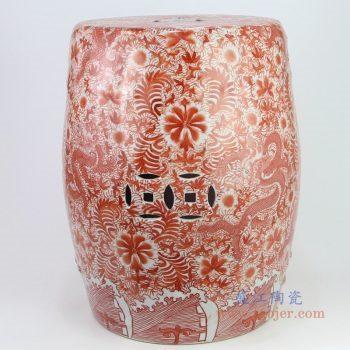 RZIS001-B 景德镇陶瓷 手绘红双龙图中式陶瓷鼓凳换鞋凳