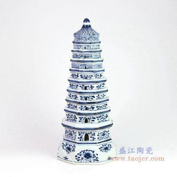RZKR10-A 景德镇陶瓷 宣德手绘手工瓷器青花宝塔