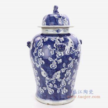 RZKT01-C 景德镇陶瓷 青花手绘花卉狮子头将军罐