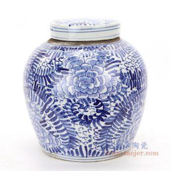RZKT04-J 景德镇陶瓷 高仿清代手绘青花牡丹纹盖罐茶叶罐