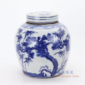 RZKT04-L 景德镇陶瓷 清代民窑全手工松竹梅青花罐