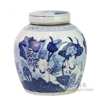 RZKT04-N 景德镇陶瓷 清代手工绘画青花富贵鱼盖罐