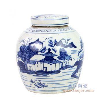 RZKT04-Q-1603G 景德镇陶瓷 仿古做旧青花山水图大罐茶叶罐