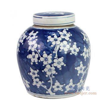RZKT04-R-1603H 景德镇陶瓷 仿古做旧明青冰梅茶叶罐