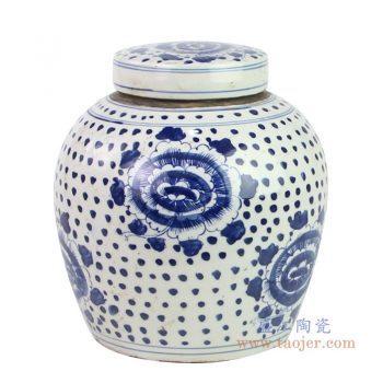 RZKT04-S-1603J 景德镇陶瓷 仿古做旧手绘青花牡丹纹盖罐茶叶罐