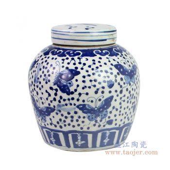 RZKT04-T-1603K 景德镇陶瓷 仿古做旧手绘青花蝴蝶图纹茶叶罐