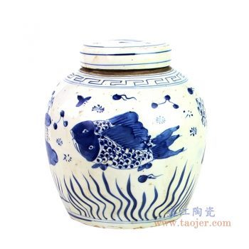 RZKT04-o-1603B 景德镇陶瓷 手绘仿元代青花鱼藻纹茶叶罐