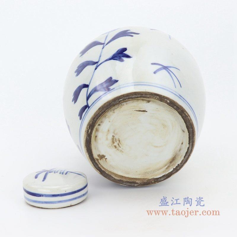RZKT10-G 仿古做旧手绘青花太阳花纹茶叶罐