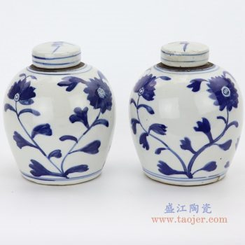 RZKT10-G 景德镇陶瓷 仿古做旧手绘青花太阳花纹茶叶罐