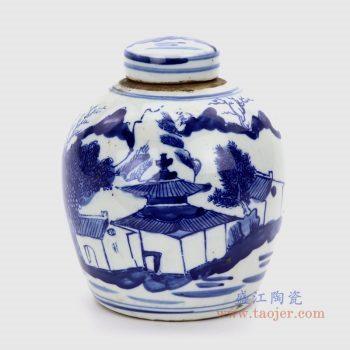 RZKT10-H 景德镇陶瓷 仿古做旧青花山水图大罐茶叶罐
