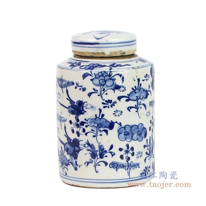 RZKT11-J--1602A_盛江陶瓷 青花手绘荷花图纹茶叶罐