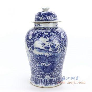 RZKT24-B 景德镇陶瓷 青花手绘人物缠枝莲将军罐