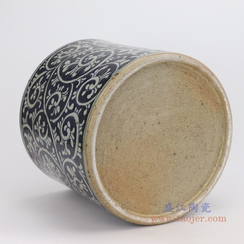 RZPJ07-A 盛江陶瓷 仿古做旧青花笔筒