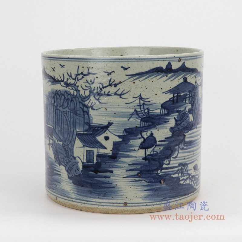 RZPJ07-B 盛江陶瓷 仿古做旧青花笔筒