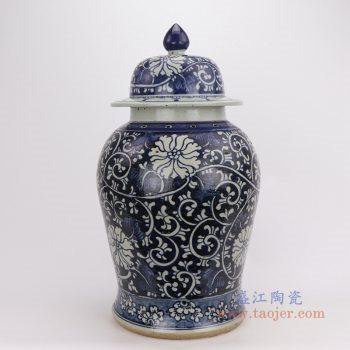 RZPJ09 景德镇陶瓷 仿古做旧青花缠枝莲将军罐