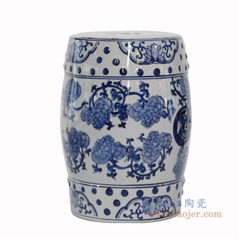 RZPZ17 盛江陶瓷 现代中式手绘青花陶瓷凳子梳妆凳换鞋凳陶瓷鼓凳