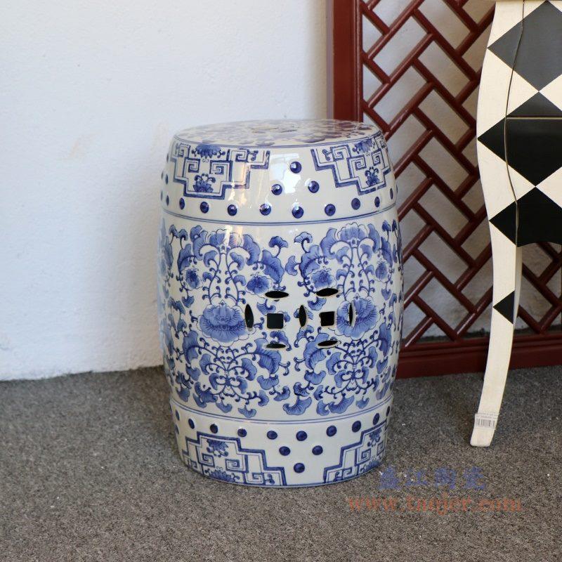 RZPZ1 盛江陶瓷 现代中式手绘青花陶瓷凳子梳妆凳换鞋凳陶瓷鼓凳