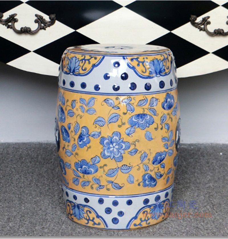 RZPZ19 盛江陶瓷 现代中式手绘青花陶瓷凳子梳妆凳换鞋凳陶瓷鼓凳