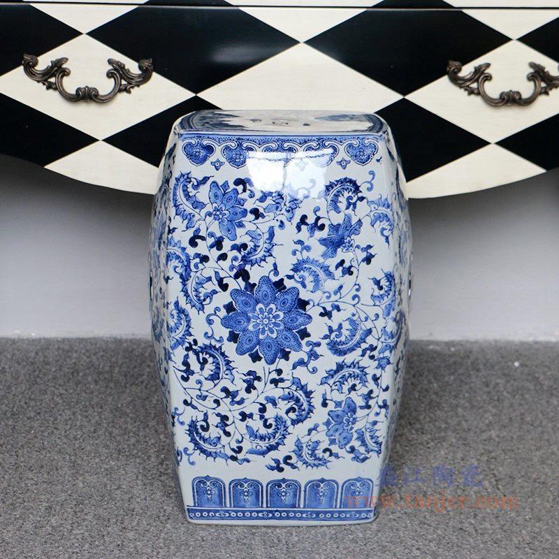 RZPZ21 盛江陶瓷现代中式手工雕花梳妆凳换鞋凳陶瓷鼓凳