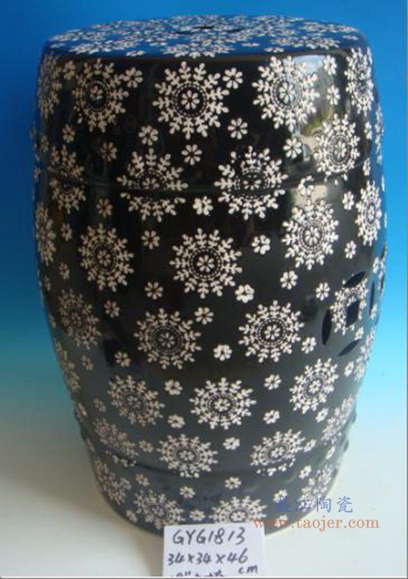 RZPZ23 盛江陶瓷 现代中式手工雕花梳妆凳换鞋凳陶瓷鼓凳