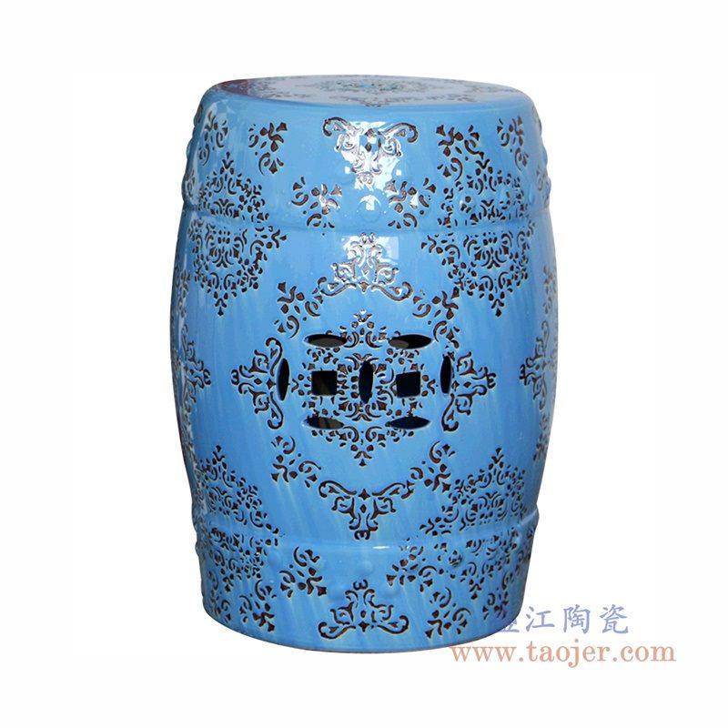 RZPZ24 盛江陶瓷 现代中式手工雕花梳妆凳换鞋凳陶瓷鼓凳
