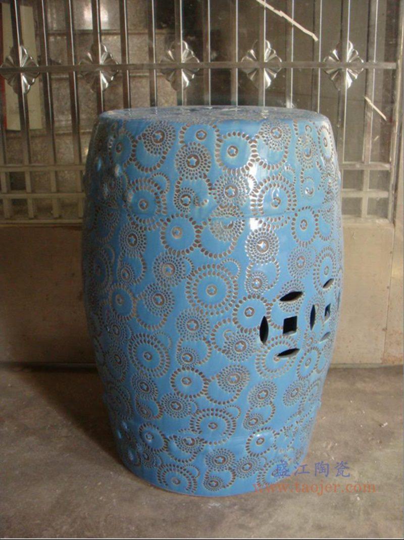 RZPZ25 盛江陶瓷 现代中式手工雕花梳妆凳换鞋凳陶瓷鼓凳