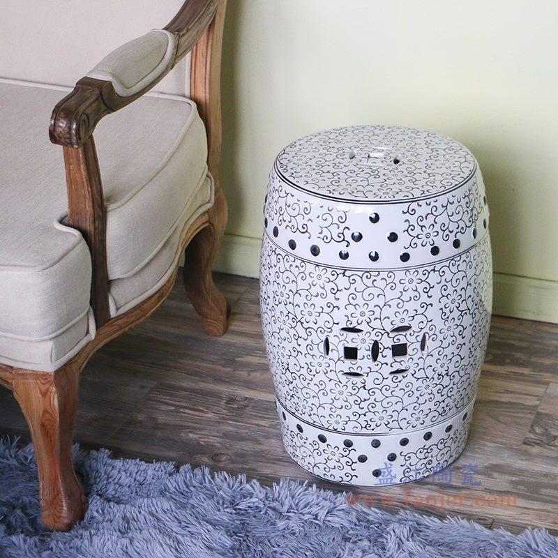 RZPZ27 盛江陶瓷 现代中式手工雕花梳妆凳换鞋凳陶瓷鼓凳