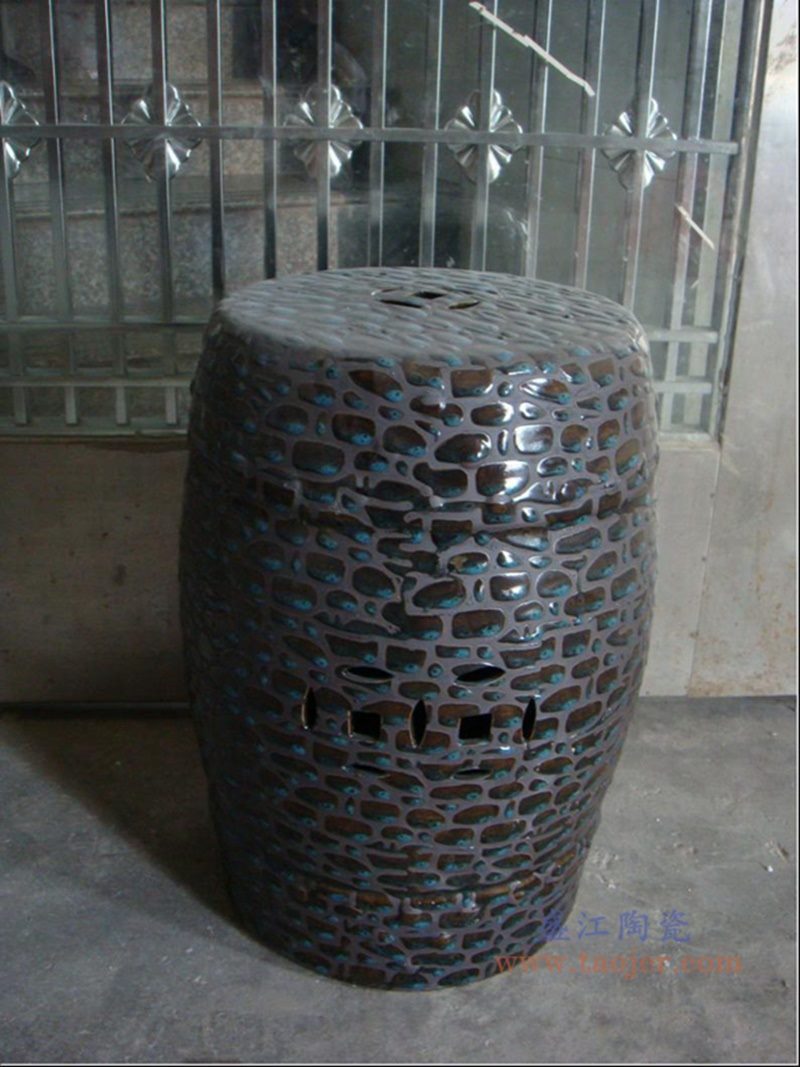 RZPZ28 盛江陶瓷 现代中式手工雕花梳妆凳换鞋凳陶瓷鼓凳