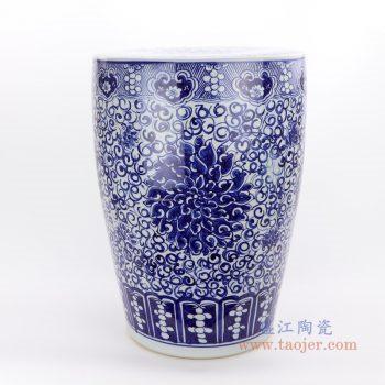 RZQB01_2528 景德镇陶瓷 手绘青花直筒陶瓷盖罐普洱茶饼盖罐家居实用罐米罐