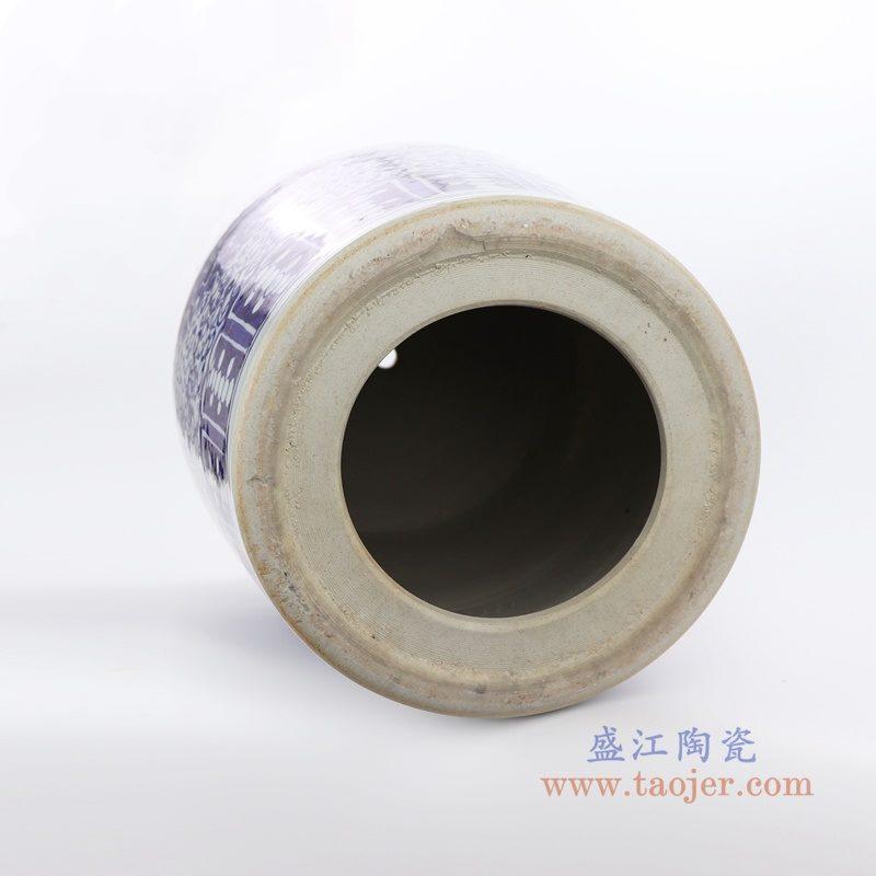 RZQB01_2528 盛江陶瓷 手绘青花直筒陶瓷盖罐普洱茶饼盖罐家居实用罐米罐