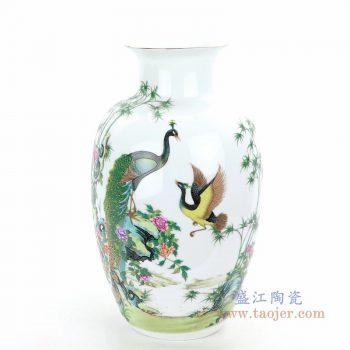 RZQG01 景德镇陶瓷 景德镇五彩凤凰粉彩花瓶
