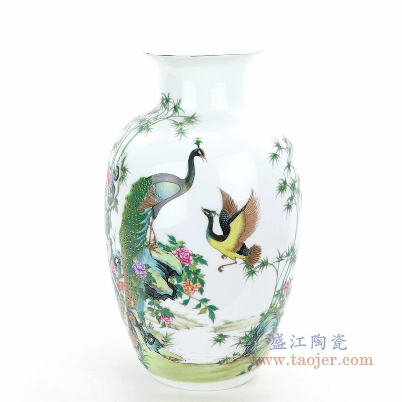 RZQG01 盛江陶瓷 景德镇五彩凤凰粉彩花瓶