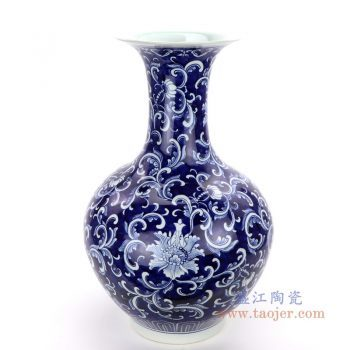 RZQH01 景德镇陶瓷 青花手绘花卉天球瓶