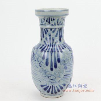 RZQJ03 景德镇陶瓷 仿古做旧青花牡丹花插中式摆件