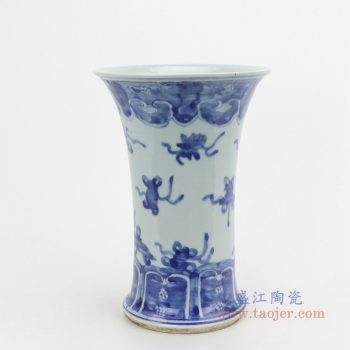 RZQJ04 景德镇陶瓷 仿古手绘青花瓷花插小花瓶