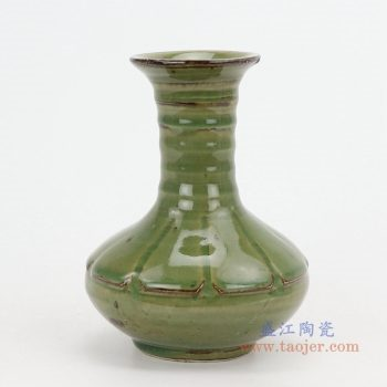 RZQJ06 景德镇陶瓷 手工仿古做旧宋朝出土龙泉开片釉赏瓶单个