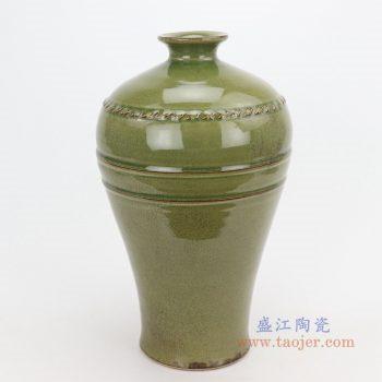 RZQJ09 景德镇陶瓷 仿古做旧宋代龙泉窑梅瓶
