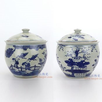 RZGC02-A-B 景德镇陶瓷 青花童子梅花图纹茶叶罐