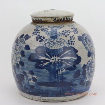 RZEY03-L-G-大号 景德镇陶瓷 仿古做旧青花荷花茶叶罐