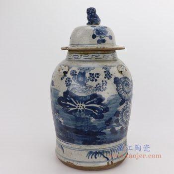 RZEY12-M-SMALL 景德镇陶瓷 仿古做旧荷花图纹狮子头将军罐