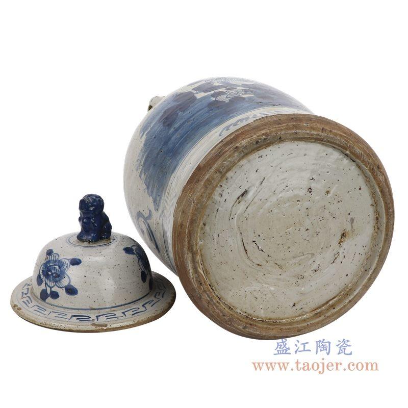 RZEY12-M-SMALL 盛江陶瓷 仿古做旧荷花图纹狮子头将军罐