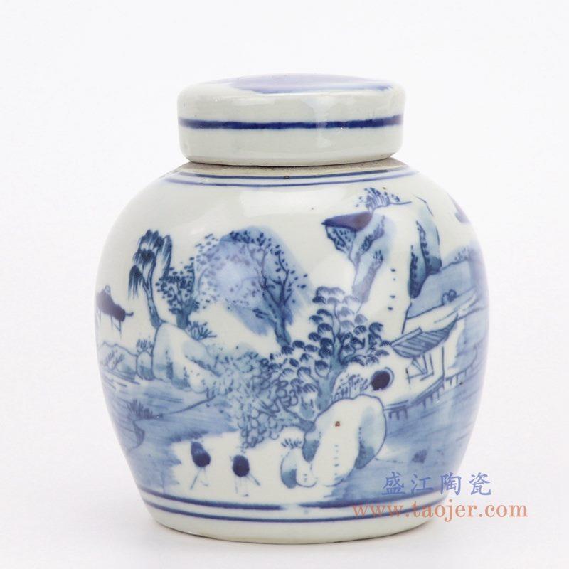 RZGC06-A 盛江陶瓷 仿古做旧清康熙年制青花山水茶叶罐