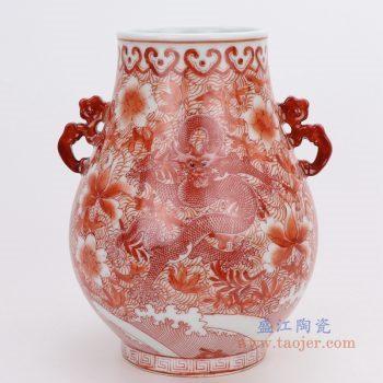 RZIS05-B 景德镇陶瓷 手绘矾红龙纹双耳尊花瓶