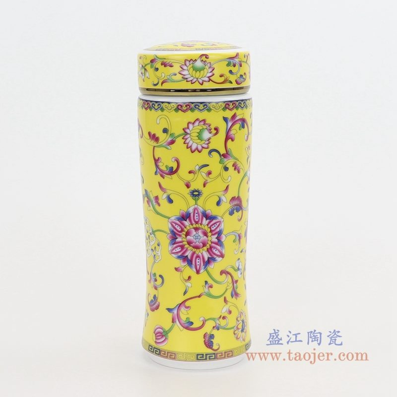 RZNR02-B 盛江陶瓷 双层陶瓷保温镂空杯浮雕色釉男女办公杯