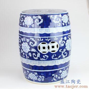 RYLU183 景德镇陶瓷 仿古青花陶瓷凳子鼓凳瓷墩