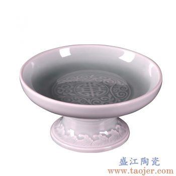 RYUF03 景德镇陶瓷 手工青瓷雕花陶瓷果盘 高脚果盘