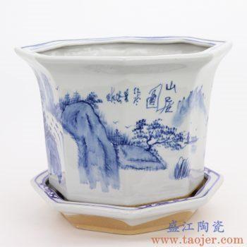 RZQM04-A 景德镇陶瓷 手绘青花山水中式六方花盆
