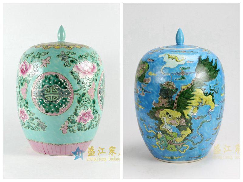 RYQQ51-C 盛江陶瓷 堆花粉彩牡丹花纹冬瓜罐